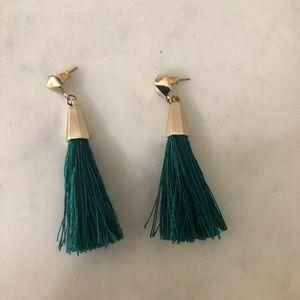 Baublebar emerald and gold tassel earrings